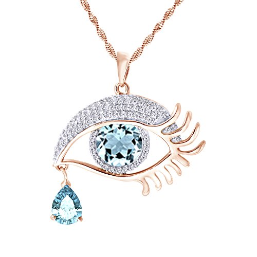 Angel's Eye Teardrop Cubic ZirconiaPendant Necklace In 14K Rose Gold Over Sterling Silver