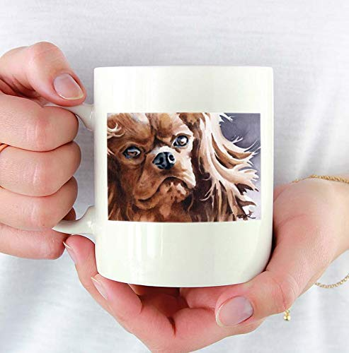 Cavalier King Charles Custom 11oz Mug With Dog Art Featuring Watercolor Painting by Artist DJ Rogers