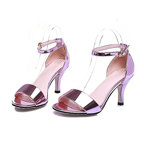 AmoonyFashion Womens Patent Leather Buckle Open Toe Kitten Heels Solid Sandals Pink Ss2Fs8HK