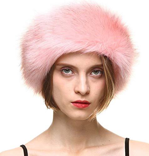 FAITH YN Faux Fur Headband with Elastic Stretch Women Fur Hat Winter Ear Warmer Earmuff Ski Cold Weather Caps [Pink]
