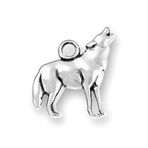Corinna-Maria 925 Sterling Silver Howling At Moon Wolf Charm