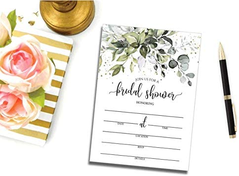 50 Greenery Bridal Shower Invitations and Envelopes (Large Size 5x7) - (50 Count)