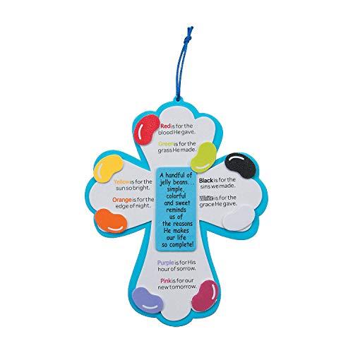 Fun Express - Jelly Bean Prayer Cross Craft Kit for Easter - Craft Kits - Hanging Decor Craft Kits - Sign Decoration Craft Kits - Easter - 12 Pieces]()
