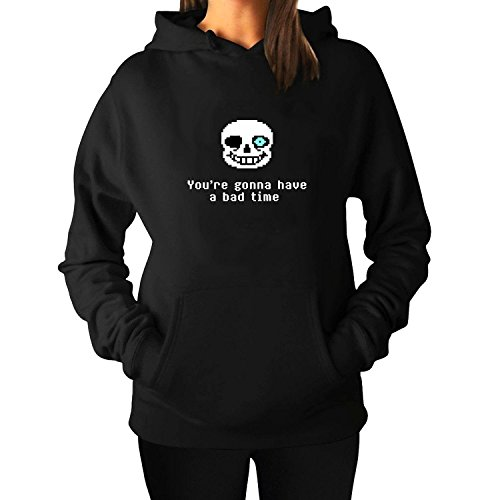 womens-undertale-sans-youre-gonna-to-have-a-bad-time-custom-hooded-pullover-hoodies-black
