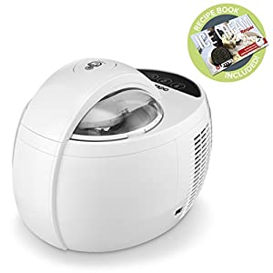 Gourmia GSI480 Automatic Ice Cream Maker with Built-In Cooling System - No Pre Freezing Needed, Makes Hard & Soft Serve Ice Cream, Gelato, Sorbet & Frozen Yogurt Includes Free Recipe Book - 2.1 Pints