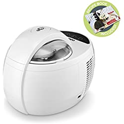 Gourmia GSI480 Automatic Ice Cream Maker - Built-In Cooling System - No Pre-Freezing Needed - One Touch - Makes Hard & Soft Serve Ice Cream - Gelato, Sorbet & Frozen Yogurt - 2.1 Pints - 110W - White
