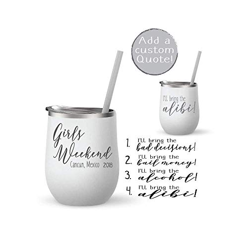 Bridal Party Gift Stainless Steel Tumbler Personalized Girls Weekend Gift Stemless Wine Tumbler Bev Steel-12 oz