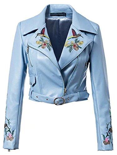 Flor Chaqueta Chamarra Faux Corto Azul Biker Large Cuero Flores del Asimétrico Sintética Piel Notch Top Moto Bordados Jacket Lapel Corta Cazadora Cuello Cremallera qwIfTt