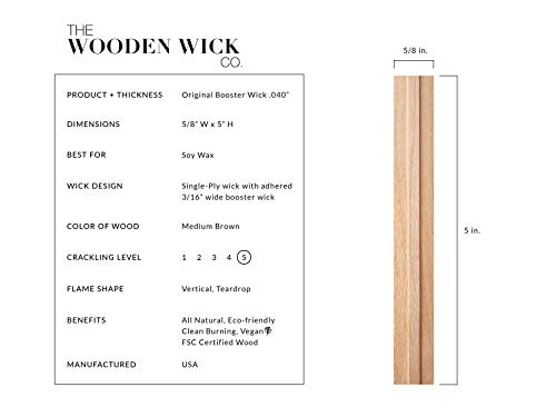 Wood Candle Wick for 100% Soy Wax Candles with Jar Diameter 3.5 to 4 in, 5 in Crackling Candle Wicks by Wooden Wick Co. | Candle Making Supplies with Metal Stand''Original Booster Wick'' by Wooden Wick Co. (Image #1)
