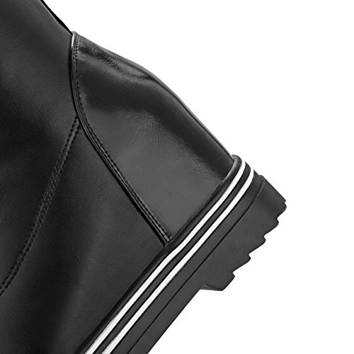 AllhqFashion Mujer Cordones Puntera Redonda Tacón Alto Pu Colores Surtidos Moda Botas Negro