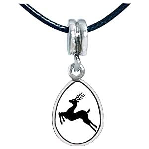 Chicforest Silver Plated The Running Christmas Reindeer Photo Angel Tears Charm Beads Fits Pandora Charms
