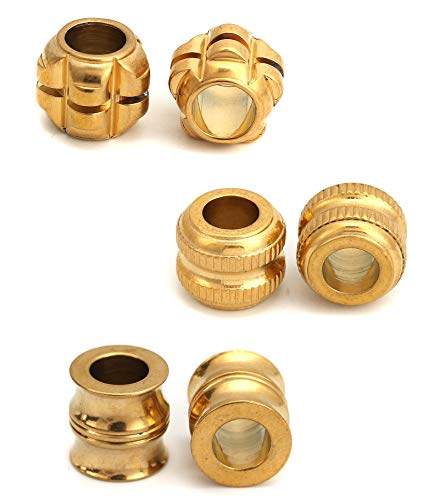 Spacer Bead Charms 6 Pack, Gold Over Stainless Steel, 6mm Hole for European Bracelets (Set A)