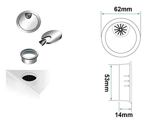 2x Qrity Metal Round Computer Desk Grommet Cable Hole Covers for Management of Office & Computer Desk, Hole Dia 53mm by QRITY (Image #2)