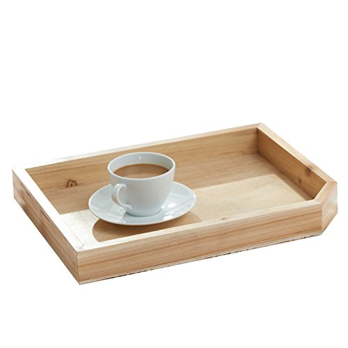 Coffee Beige Tray - Rustic Wood Coffee Table Breakfast Tray, Decorative Office Document or Magazine Holder, Beige