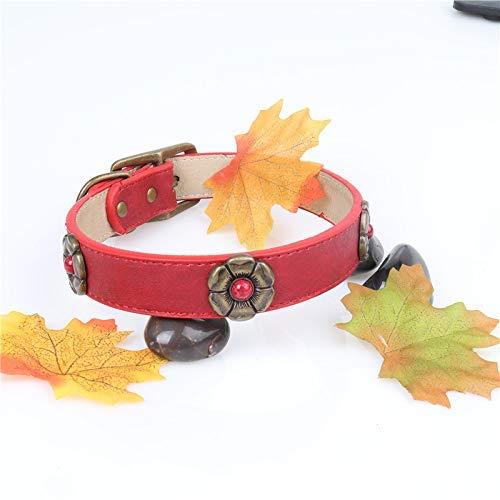 Red 3.0×44-55CM Lindou Pet collar Pet collar creative gemstone flow decorative dog collar,black,2.5×35-45CM (color   Red 3.0×44-55CM)