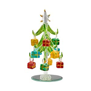 """Mini Christal Glass 6"""" Christmas Trees with Ornaments with 12 Ornaments + BONUS Glass Stickers Window Clings Decorations - Reusable Every Year"""