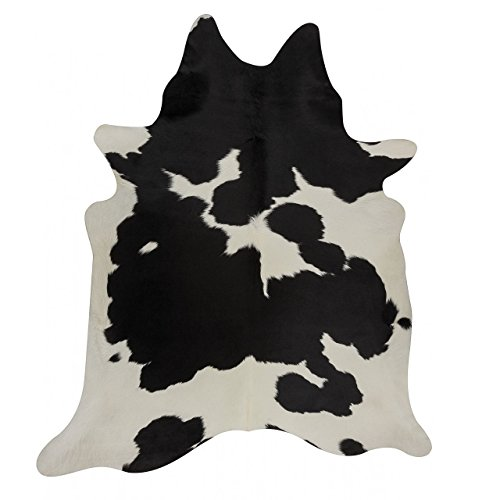 Black and White Cowhide Rug Black Cow Skin Leather Rug - Pure Cowhide Rug (5 X 5) by MeshNew