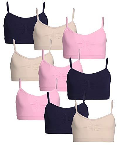 Sweet Princess Girls Nylon/Spandex Seamless Training Bra (9 Pack) (Medium, Petal Pink/Almond)'