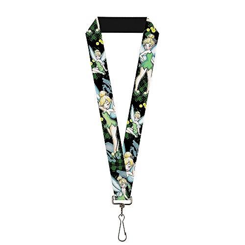Buckle-Down Lanyard - Tinker Bell 4-Poses/Paint Splatter Black/Greens