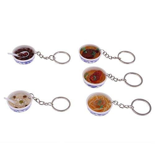 GreenSun TM 5pcs Novelty Key Chains Food Plastic Bowl Mini Bag Pendant Simulation Noodle Food Toy Pretend Play Children Toys