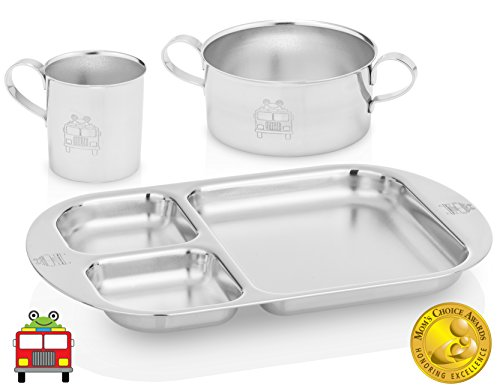 Kiddobloom Toddler Stainless Steel Dinnerware Set, Fire Truck (1 Toddler Bowl, 1 Toddler Cup, 1 Toddler Divided Plate). Beautiful Keepsake for Baby, Toddler, and Kids. Baby Led Weaning