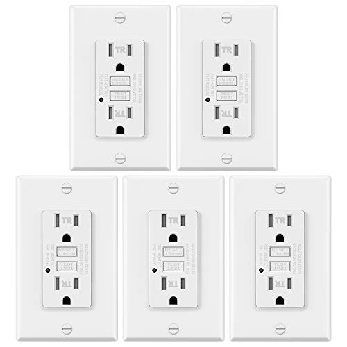5 Pack - ELECTECK 15A/125V Tamper Resistant GFCI Outlets, Decor Receptacle with LED Indicator, Decorative Wall Plates and Screws Included, Residential and Commercial Grade, ETL Certified, White