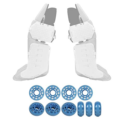 Rollerfly White Slide Plates + Clear Blue Indoor Goalie Wheels - ()