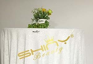 shinybeauty 72in-round blanco Lentejuelas mantel–un montón de colores disponibles, para Halloween/Navidad/boda fiesta de cumpleaños Decoración