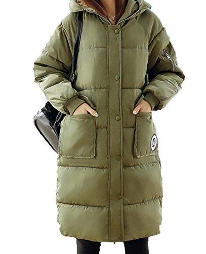 Solido Delle Xl Donne Giù Eku Giacca Verde Lungo Trapuntato Dimagriscono Cappotti Militare Hoodie 4B6qRq