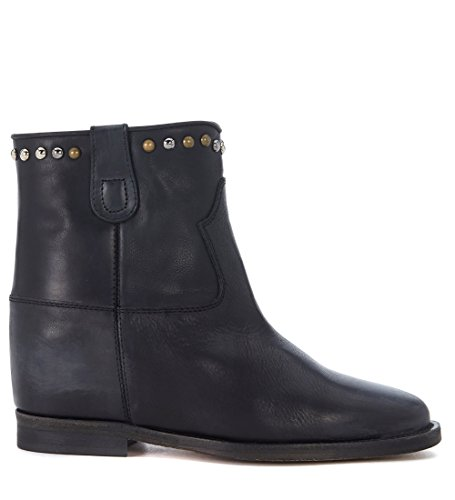 Via Roma 15 Womens 15 Malibù Black Distressed Leather Ankle Boots With Studs Black hTSnWd