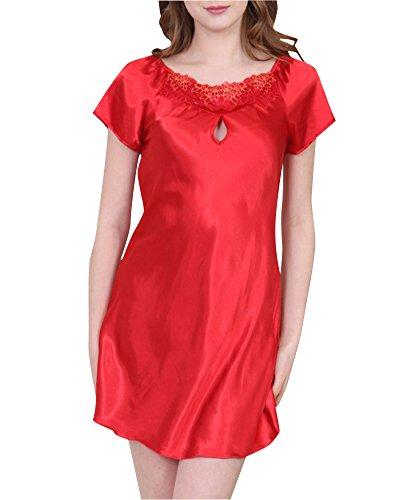Pigiameria da Camicia Semplice Pigiama Donna Delle Raso Classica Rosso3 Notte wgF0T6xq