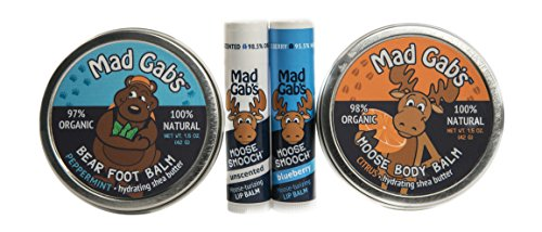 Mad Gab's 4-Piece Natural & Organic Citrus Moose & Bear Smooch Stick and Foot Balm Gift Set made in Maine