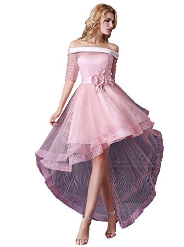 Emily Beauty Boat Evening Half in Sleeve Front Pink Neck Dresses Short UdT1qda