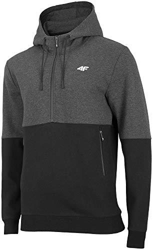 4F Men Clothing Zip Hoodie Training Running Sports Gym Black H4Z19-BLM004B New
