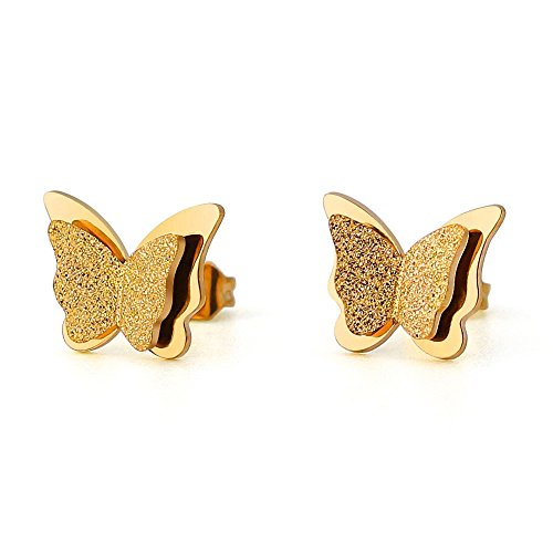 Stainless Steel Butterfly Double-layer Stud Earring (Yellow Gold-Tone) ()
