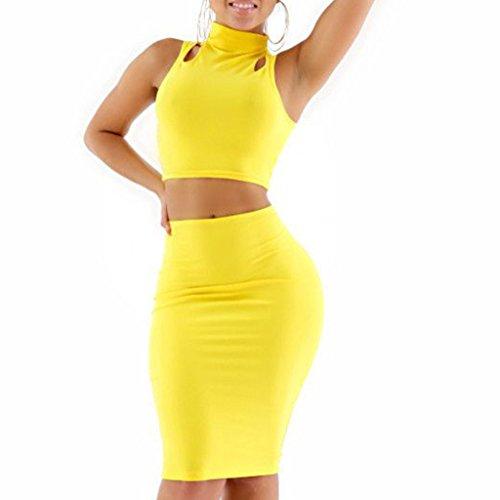 LKOUS Women's Crop Top Skirt Set 2 Pieces Bodycon Pencil Skirt Nightclub Dress L
