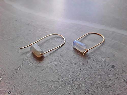 Labradorite Modern Minimalist Drop Hoop Earrings Gold - Gold Labradorite Earrings
