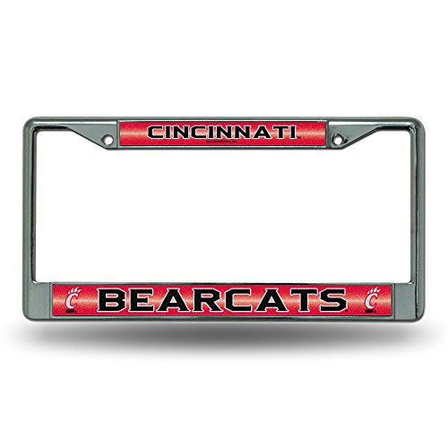 NCAA Cincinnati Bearcats Bling License Plate Frame, Chrome, 12 x 6-Inch (Cincinnati Bearcats Basketball)