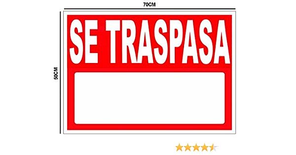 Oedim Cartel Se Traspasa 50x70cm | Carteleria para Inmobiliarias o Particulares | Material Flexible Fabricado en Glasspack: Amazon.es: Hogar