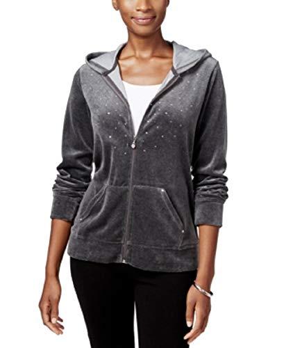Karen Scott Petite Embellished Zip-Front Velour Hoodie (Charcoal Heather, PM)