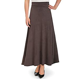 Collections Etc Women's Faux Suede A-Line Skirt, Chocolate, XX-Large, Plus-Size - Made in The USA