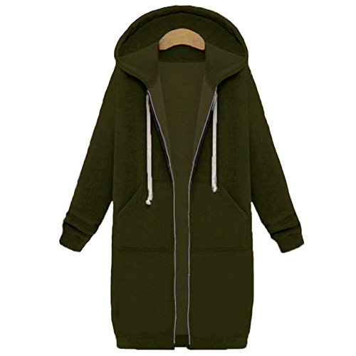 Your Gallery Women's Casual Long Hoodies Sweatshirt Coat Pockets Zip up Outerwear Hooded Jacket Plus Size Tops Army Green