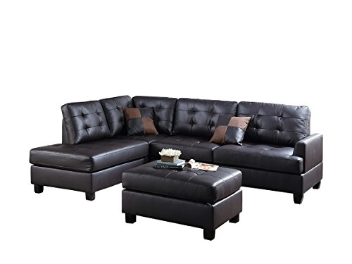 Poundex Bobkona Matthew Faux Leather Left or Right Hand Chaise SECTIONAL Set with Ottoman in Espresso