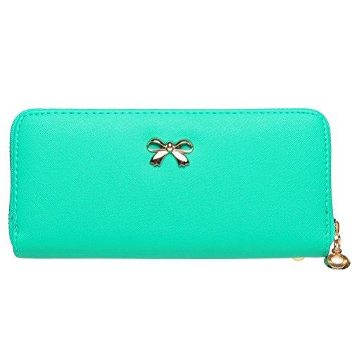 BaoLan Womens Wallet Clutch Bowknot Leather Wallets Card Holder Case Long Ladies Purse Wallet for Women Light Blue (Clutch Girl Wallets)