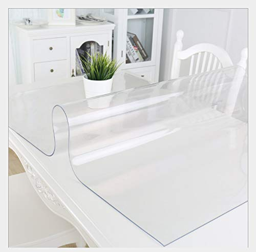 Deco2 1.5mm Thick 36 x 60 Inches Clear PVC Table Protector for Dining Room Table, Waterproof Plastic Tablecloth, Kitchen Dining Room Wooden Furniture Protective Cover,8ft Long