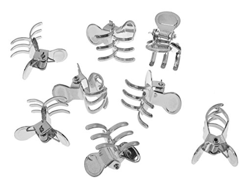 L. Erickson Clip & Go Mini Metal Jaw Hair Clips, Silver, Set of 8 - Strong Hold For Easy Styling Solutions (Small Silver Hair Clips)