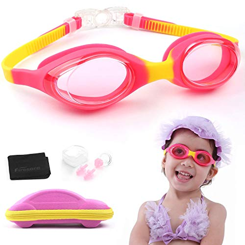 (Swim Goggles, Firesara Kids Swimming Goggles for Boys and Girls- Adjustable Straps, Silicone Eye Seal, Leak Proof UV Protection and Anti Fog Lenses Swimming Goggles with Ear Plug Nose Clip(Age 4-12))