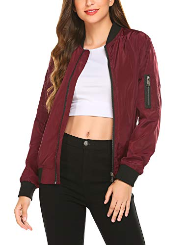 Zeagoo Women's Faux Leather Fashion Quilted Racer Jacket (Wine Red, Medium) (Quilted Faux Leather Jacket Red)