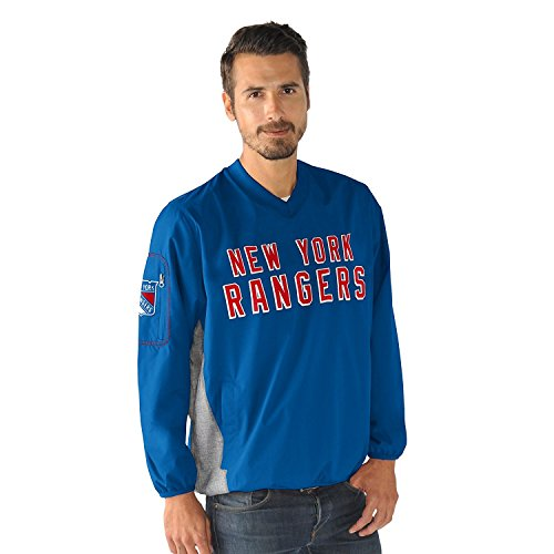 New York Rangers NHL Men's G-III Sports by Carl Banks Gridiron V-Neck Pullover Jacket (Medium)
