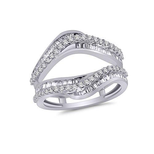 (OMEGA JEWELLERY 0.95 Ct Round & Baguette Shape Real Diamond Wrap Enhancer Ring in 14K White Gold (8))